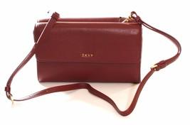 DKNY Donna Karan Burgundy Leather Double Flap Shoulder Bag / Clutch - $147.68