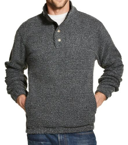 Men's Weatherproof Vintage Sweater 1/2 Button Mock-Snap Fleece Pullover Licensed