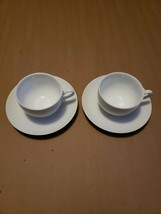 2 Fitz Floyd Gourmet White Coupe Cup & Saucers Porcelain Dinnerware Replacement - $14.99
