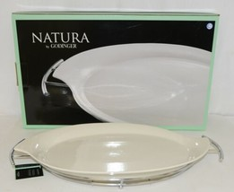 Godinger 6387 Natura 11 By 16 Inch White Porcelain Serving Tray With Rack image 1