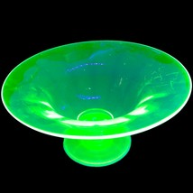 "Uranium Vaseline Glass Footed Fruit center piece bowl, 9"" wide, 4 1/2"" tall - $49.99"