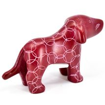 Tabaka Chigware Hand Carved Kisii Soapstone Red Standing Puppy Dog Figure image 4