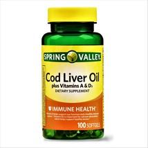 Spring Valley Cod Liver Oil Plus Vitamin A & D Immune Health 100 Softgels - $11.50
