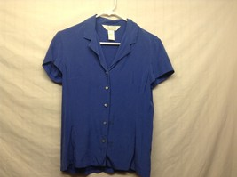 Petite Sophisticate Blue Short Sleeve Button Up Silk Blouse Sz 2