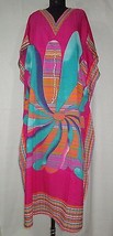Printed Long Kaftan~Beach Gown~Farasha Caftan~Hippie Magenta Dress~Free Size - $12.19