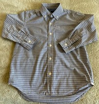 Gap Kids Boys Blue White Plaid Collared Button Down Long Sleeve Shirt 6-7 - $12.13