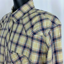 Wrangler Vintage Pearl Snap Mens XL Tan Blue Red Gray Plaid Shirt Well Worn - $22.99