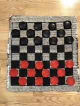 "Giant Checkers Game Rug Mat Jumbo 26""×28"" Indoor Outdoor. 3"" Checkers. C... - $12.59"