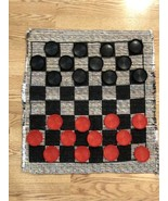 """Giant Checkers Game Rug Mat Jumbo 26""""×28"""" Indoor Outdoor. 3"""" Checkers. Clarion - $12.59"""