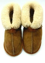 Womens Genuine  Sheepskin Slippers Booties  7M  Tan Camel Slippers  1008 - $7.98