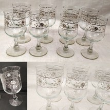 Set of 8 Crystal Wine Glasses with White and Silver Roses Design image 1