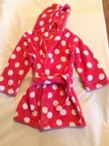 Size 4 XS Childrens Place robe plush hoodie polka dot long sleeves pink girls - $10.99