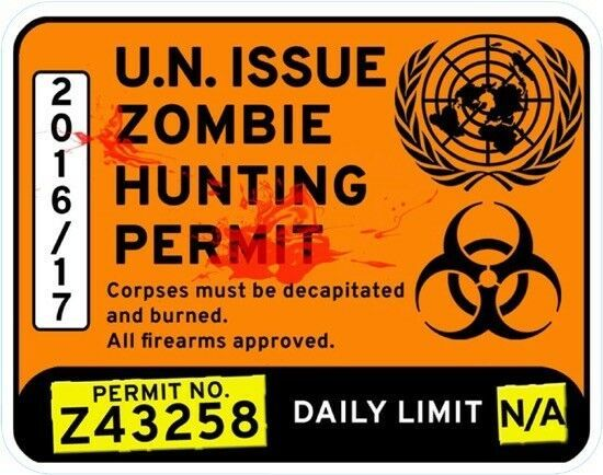 Primary image for Zombie Hunting Vinyl Window Sticker 15x12cm car permit dead walking humour