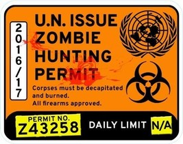 Zombie Hunting Vinyl Window Sticker 15x12cm car permit dead walking humour  - $4.87