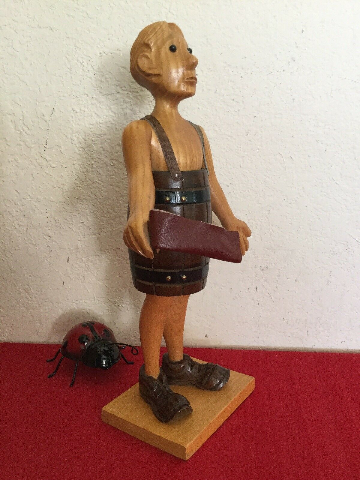 """Vtg Romer Cormano Handcarved Wood Figurine Taxpayer Man In The Barrel ITALY  12"""""""