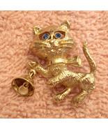 Avon Frisky Kitty Pin Rhinestone Eyes Figural CAT Brooch Bell Rings VTG ... - $19.77