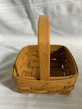 Longaberger Tarragon Booking Small Square Basket with Stationary Handle 2003 - $16.69