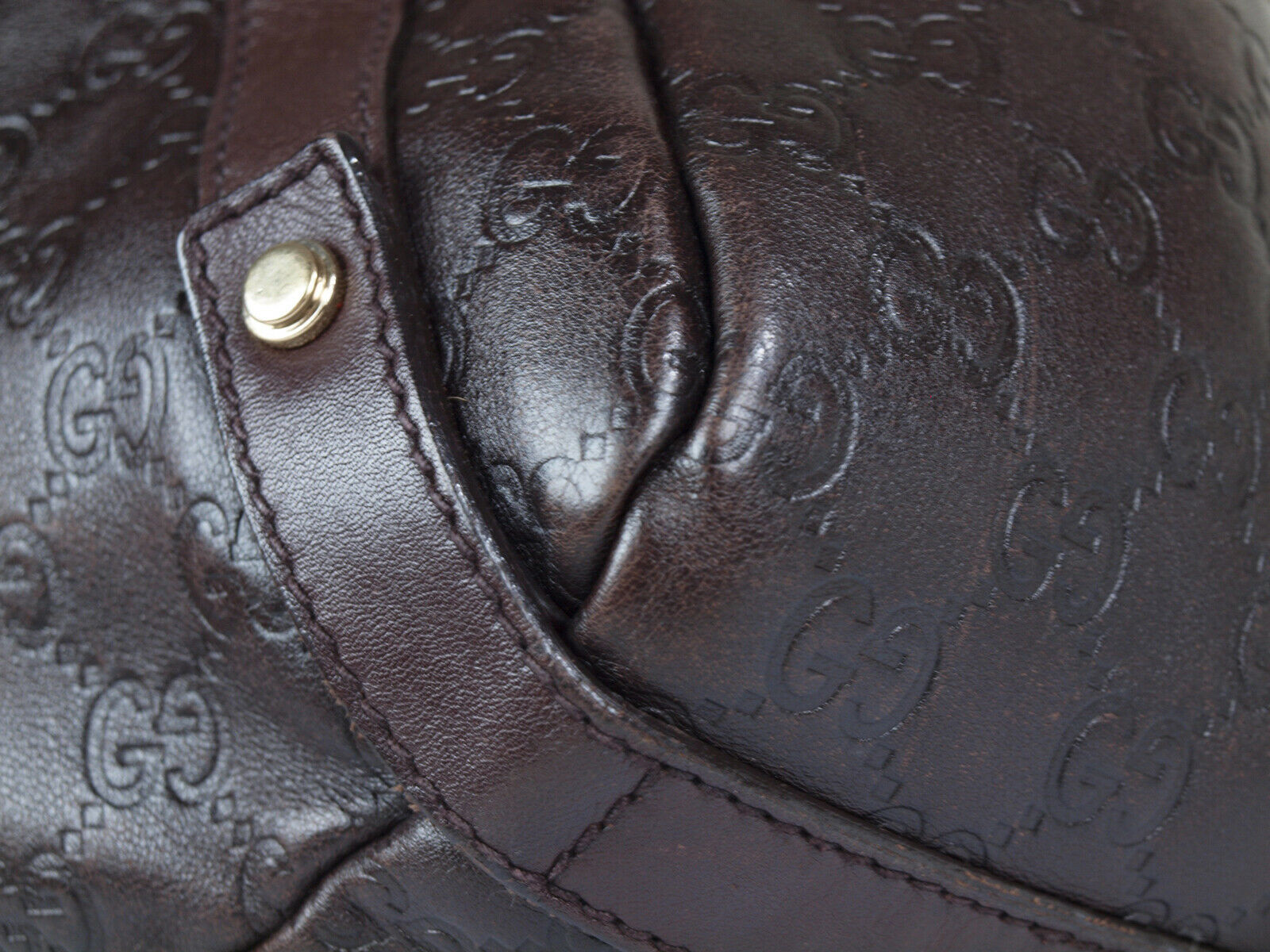 Auth GUCCI Guccissima Leather Dark Brown Shoulder Bag GT2152  image 5