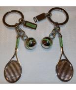 Coach Multi Charm Tennis Racket Ball Keychain 92719 Silver Green NWOT Un... - $39.00