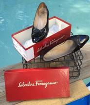 Salvatore Ferragamo Memory Nero Patentcalf Calf. 9 B Women's Shoes Black Italy - $77.46