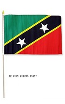 ALBATROS 12 in x 18 in Pack of 3 St. Kitts with Nevis Country Stick Flag... - $34.03