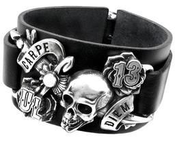 Men's Carpe Diem Black Leather Wrist Strap Skull Bracelet Alchemy Gothic ULA7 - $49.45