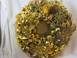 Vintage GOLD Christmas ornament wreath 19 Inch 25652 Germany Glass Shiny... - $133.39