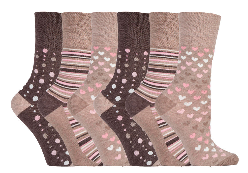 Gentle Grip - 6 Pairs Ladies Breathable Loose Soft Top Non Elastic Bamboo Socks