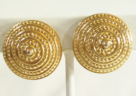 SARAH Coventry Gold Plated Clip Earrings Domed Coiled Rope Vintage COV Scored - $14.84