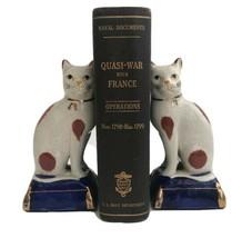 Vintage Pair Fitz & Floyd Porcelain Cats Blue Pillow Figurines Bookend J... - $104.81