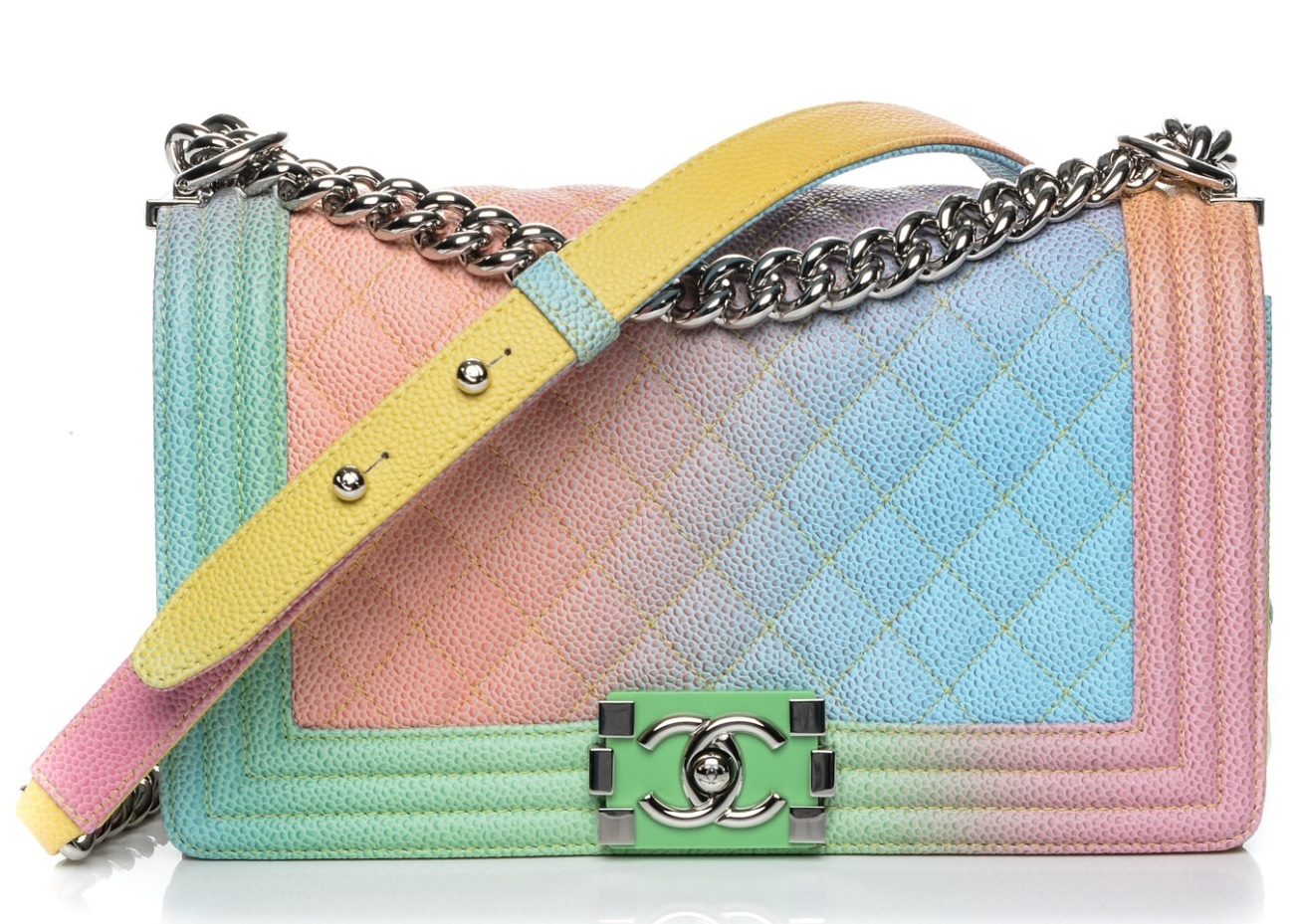 680eb44b3517 Rainbow. Rainbow. Previous. AUTHENTIC CHANEL LIMITED EDITION RAINBOW  QUILTED CAVIAR MEDIUM BOY FLAP BAG