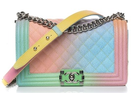 AUTHENTIC CHANEL LIMITED EDITION RAINBOW QUILTED CAVIAR MEDIUM BOY FLAP BAG