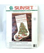 Sunset Musical Christmas Tree Stocking Counted Cross Stitch 18333 Holiday - $49.88