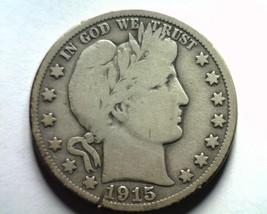1915 BARBER HALF DOLLAR VERY GOOD VG STRIKE THROUGH BOTH SIDES NICE ORIG... - $155.00