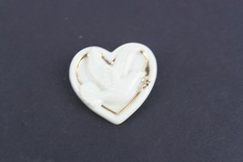 Vintage Lenox Heart Shaped Brooch Pin with Dove Gold Plated White - $9.47