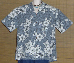 Ho Aloha Hawaiian Shirt Blue White Flowers Leaves Size XL LN - $21.95