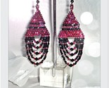 Ladies Cranberry Raspberry Red Beaded Large Earrings with Jet - $14.40