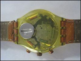 SWATCH Watch Brown Leather Straps Swiss Made 22 Jewels Wristwatch Chrono Men's image 5