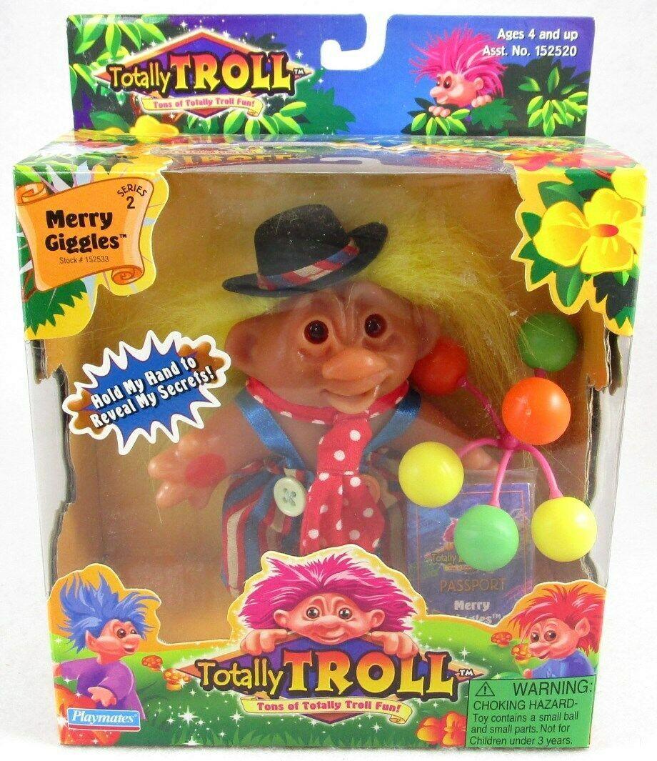 NIB Playmates Totally Troll Merry Giggles + Balloons & Passport, 2001 - $14.99