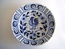 """Johnson Brothers Blue & White Chanticleer Rooster Serving Salad Bowl 8.75"""" - $34.60"""