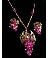 Vintage necklace set / vintage chandelier Fuschia crystal necklace - cli... - $165.00