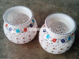 Set of 2 White Marble Pot Mosaic Art Filigree Work Inlay Home Table Decor Gifts - $328.74