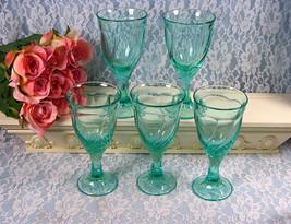 Noritake China Crystal Sweet Swirl Aqua Green Wine Goblet Set of Five, E... - $49.99