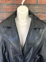 Wilsons Black Leather Blazer Large Thinsulate Lining Shoulder Pads Butto... - $49.00