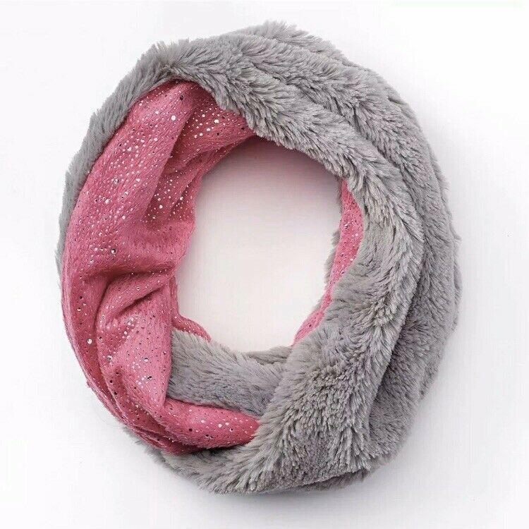 Primary image for Girls Faux-Fur Infinity Scarf, Foil-Speckled, Warm and Cozy in Pink/Gray