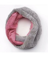 Girls Faux-Fur Infinity Scarf, Foil-Speckled, Warm and Cozy in Pink/Gray - £8.28 GBP