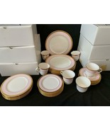 60 PC Mary Kay Piece Place Setting Gold Encrusted Band & Pink Rim  NEW N... - $989.99