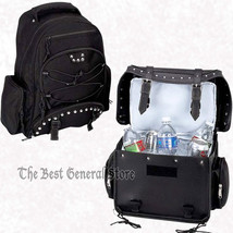 2pc Black Heavy-Duty PVC Motorcycle Cooler Trunk Bag and Backpack Chrome... - $67.98