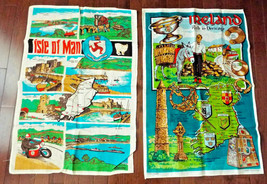 Irish Linen Calendar Towels 29x19 Ireland Isle of Man Callender 2 Pc Est... - $23.49