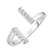 Womens Top Quality Toe Ring with Bars in Sterling Silver with Cubic Zirconia - $19.79